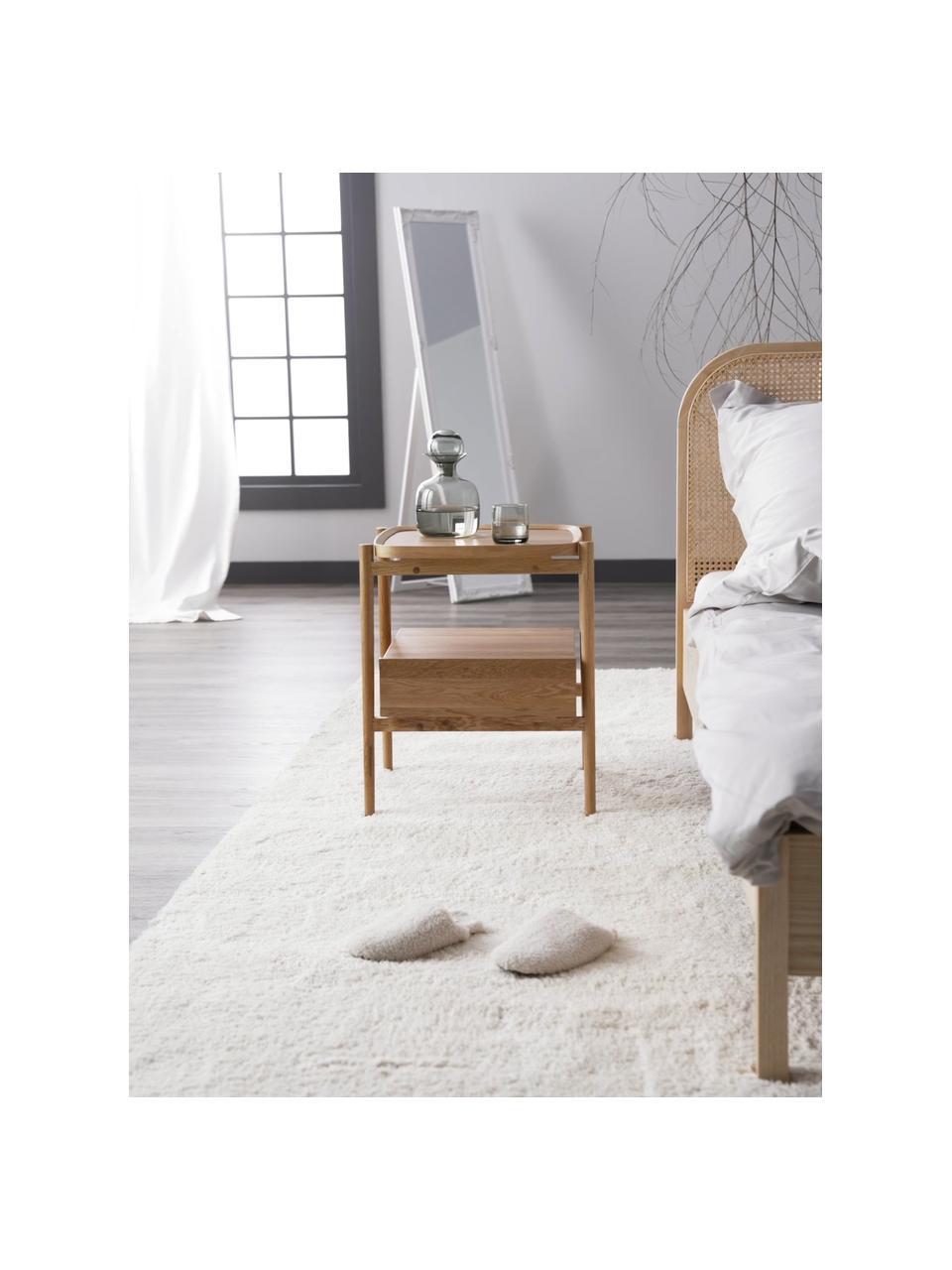 Nachtkastje Libby van eikenhout, Plank: eikenhoutfineer met MDF, Lichtbruin, 49 x 60 cm