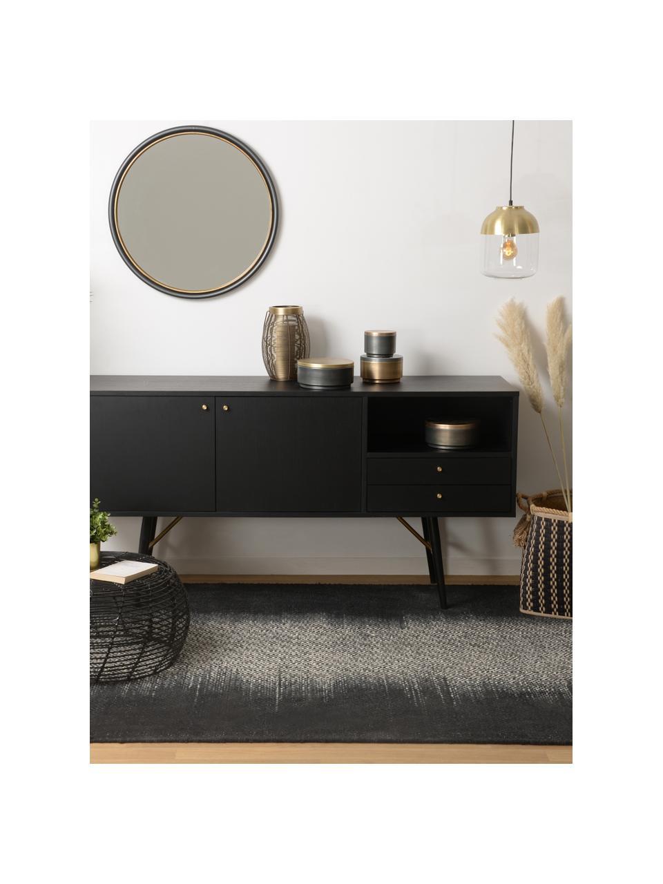 Zwart dressoir Verona met deuren, Frame: MDF met gelakt eikenhoutf, Poten: gepoedercoat metaal, Zwart, messingkleurig, 160 x 45 cm