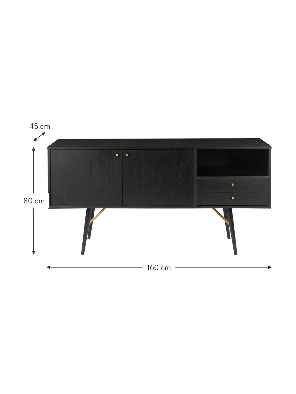 Schwarzes Sideboard Verona mit Türen, Korpus: Mitteldichte Holzfaserpla, Beine: Metall, pulverbeschichtet, Schwarz, Messing, 160 x 45 cm