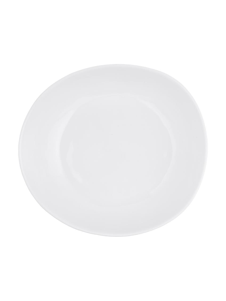 Miska Porcelino, 4 szt., Porcelana o celowo nierównym kształcie, Biały, 17 x 16 cm