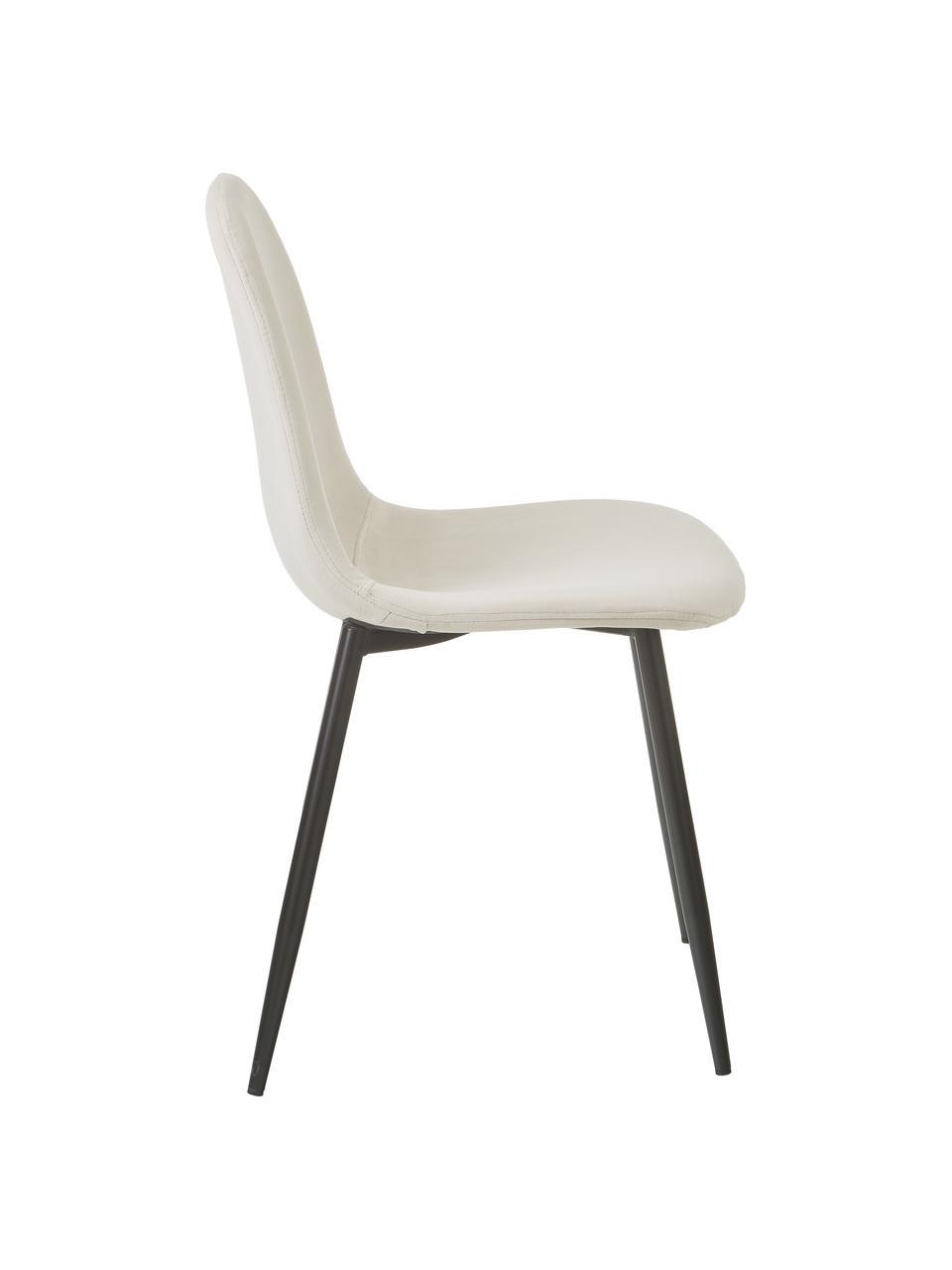 Chaise en velours rembourrée Karla, 2pièces, Velours blanc crème