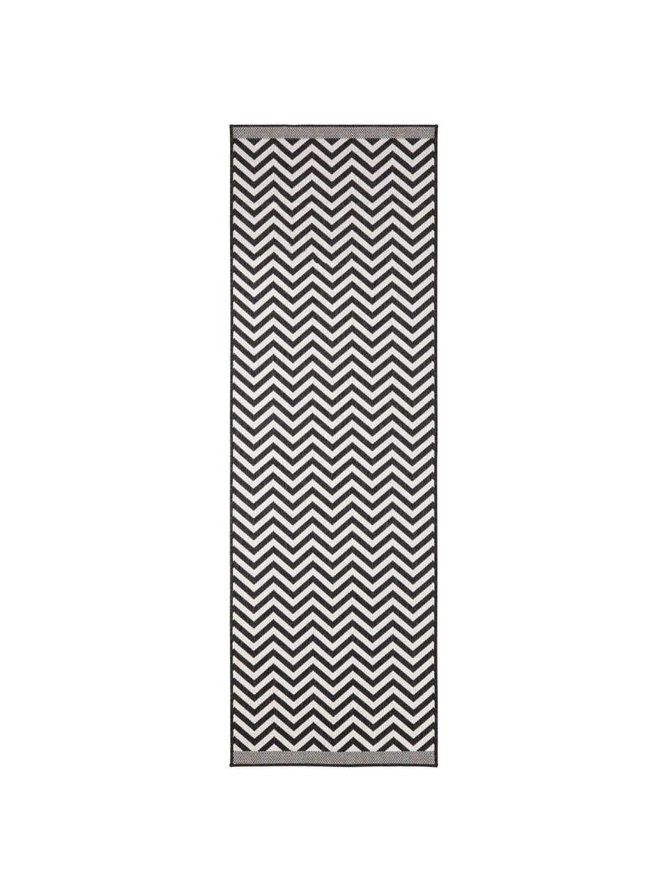 In- & Outdoor-Läufer Palma mit Zickzack-Muster, beidseitig verwendbar, 100% Polypropylen, Schwarz, Creme, 80 x 350 cm