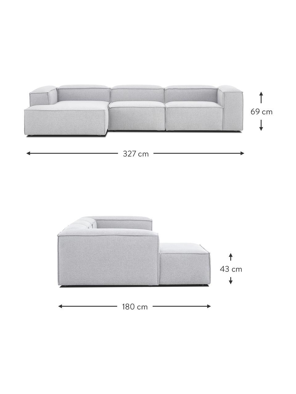 Narożna sofa modułowa Lennon, Tapicerka: 100% poliester Dzięki tka, Stelaż: lite drewno sosnowe, skle, Nogi: tworzywo sztuczne Nogi zn, Jasny szary, S 327 x G 180 cm
