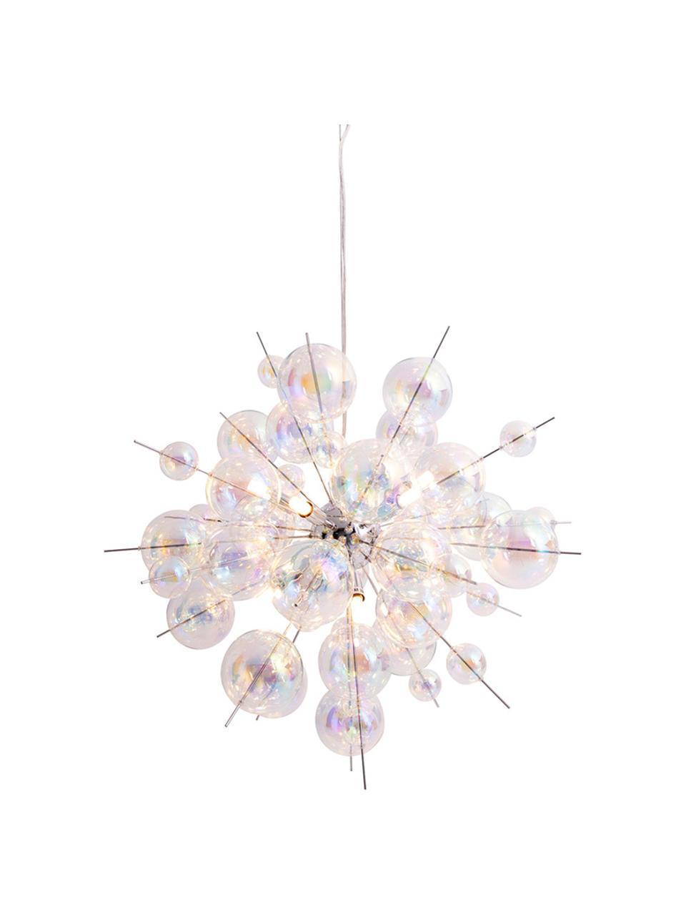 Große Pendelleuchte Explosion aus Glaskugeln, Baldachin: Metall, verchromt, Chrom, Transparent, irisierend, Ø 65 cm