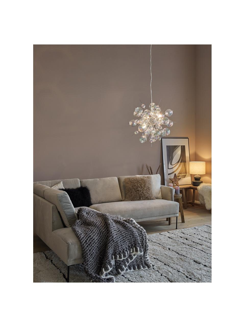 Grote hanglamp Explosion van glazen bollen, Baldakijn: verchroomd metaal, Chroomkleurig, transparant, iriserend, Ø 65 cm