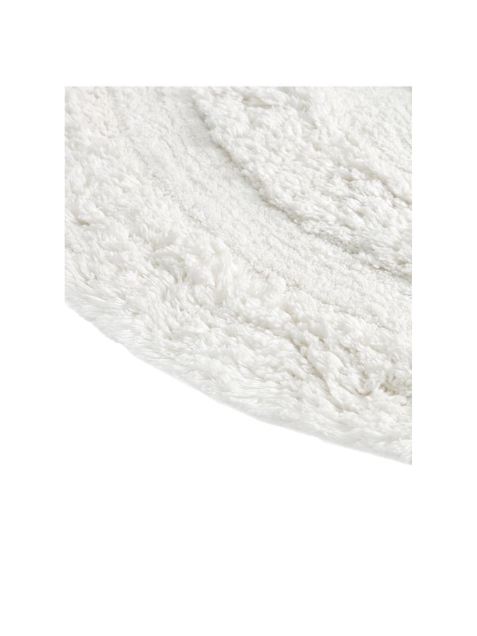Runder Teppich Eligia mit Hoch-Tief-Effekt, 100% Baumwolle, Weiß, Ø 120 cm (Größe S)