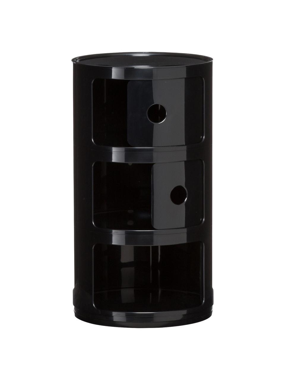 Contenitore di design a 3 cassetti Componibili, Materiale sintetico (ABS) verniciato, Nero lucido, Ø 32 x Alt. 59 cm