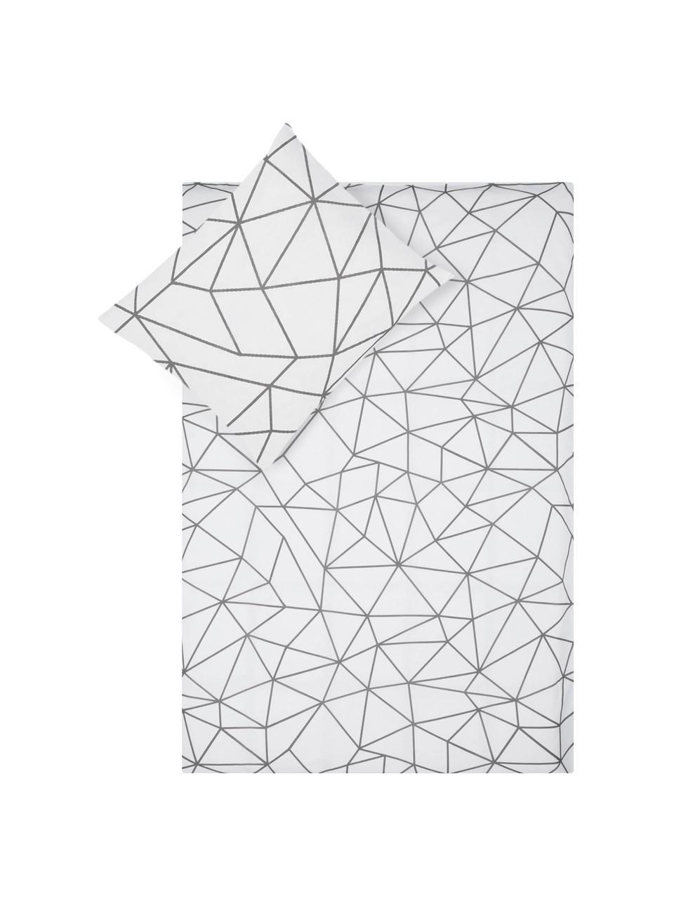 Dubbelzijdig dekbedovertrek Bray, Katoen, Bovenzijde: wit, grijs. Onderzijde: wit, 140 x 200 cm