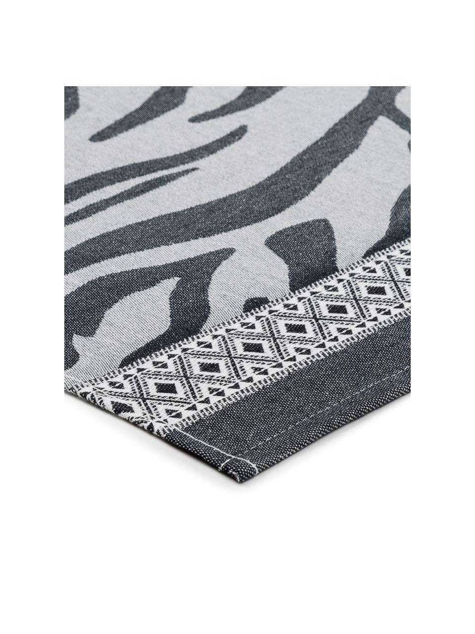 Baumwoll-Geschirrtücher Africa mit Zebramuster, 6 Stück, Baumwolle, Schwarz, Weiß, 60 x 65 cm