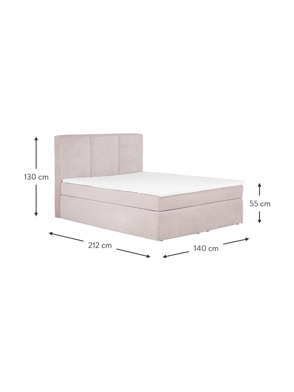 Letto boxspring in tessuto rosa Oberon, Materasso: nucleo a 5 zone di molle , Piedini: materiale sintetico, Tessuto rosa, 200 x 200 cm