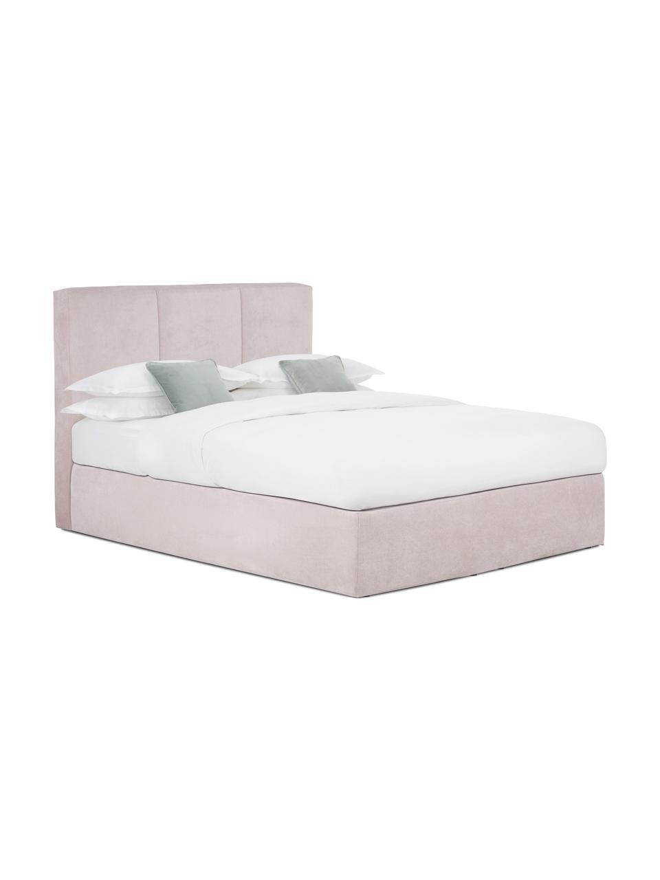 Boxspring bed Oberon in roze, Matras: 5-zones pocketvering, Poten: kunststof, Stof roze, 200 x 200 cm