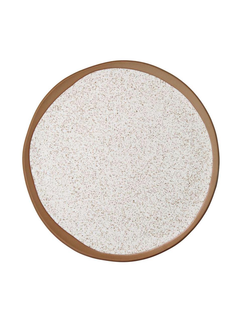 Piattino da dessert marrone/beige opaco Caja 2 pz, Gres, Tonalità marroni e beige, Ø 21 cm