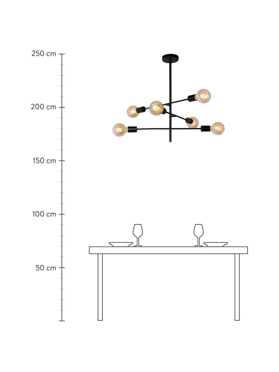 Pendelleuchte Lester in Schwarz, Baldachin: Metall, lackiert, Schwarz, Ø 59 x H 83 cm