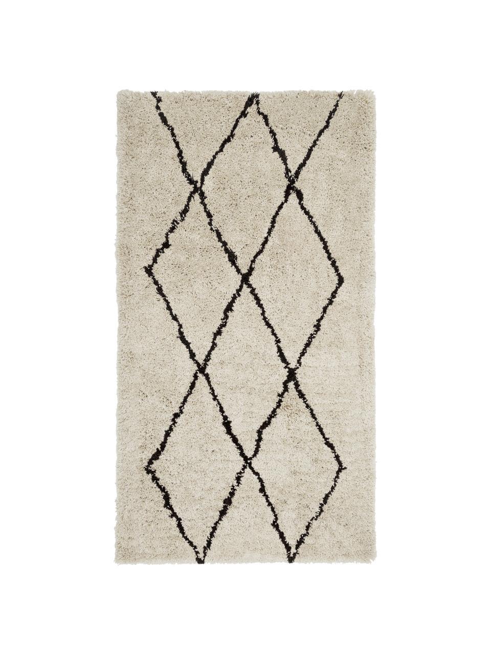 Tappeto morbido a pelo lungo taftato a mano Nouria, Retro: 100% cotone, Beige, nero, Larg. 200 x Lung. 300 cm (taglia L)