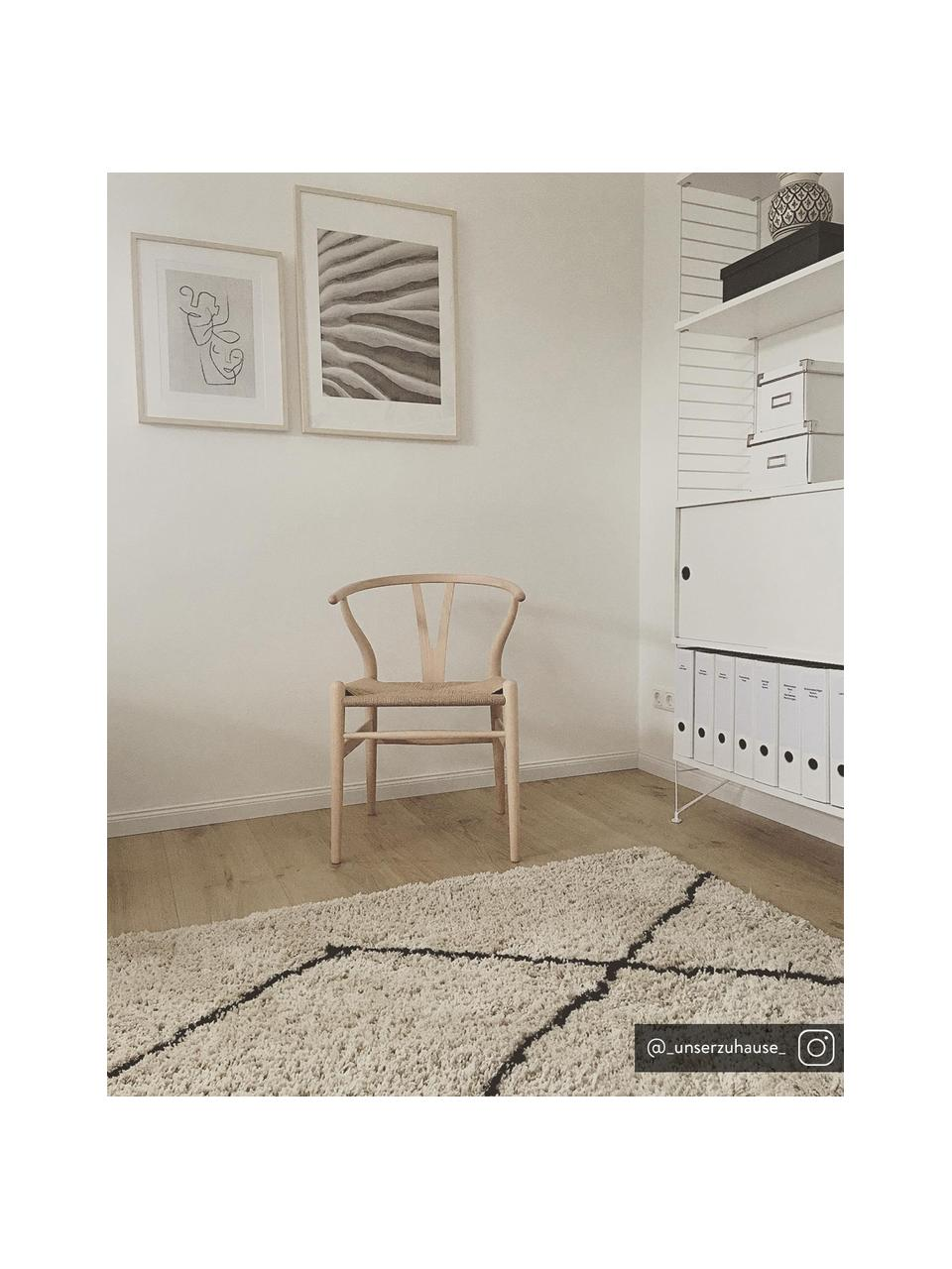 Zacht hoogpolig vloerkleed Nouria, handgetuft, Bovenzijde: 100% polyester, Onderzijde: 100% katoen, Beige, zwart, B 200 x L 300 cm (maat L)