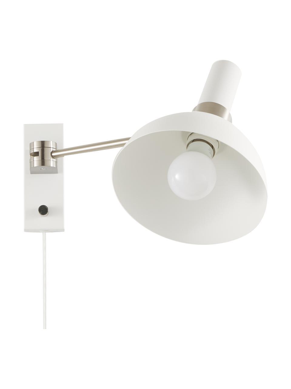 Dimmbare Wandleuchte Larry mit Stecker, Lampenschirm: Messing, lackiert, Gestell: Messing, Weiß,Chrom, 19 x 24 cm