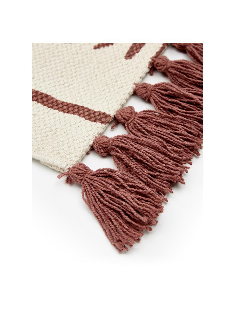 Handgeweven katoenen vloerkleed Rita in beige/terracottarood met decoratieve kwastjes, Beige, terracottarood, B 50 x L 80 cm (maat XXS)