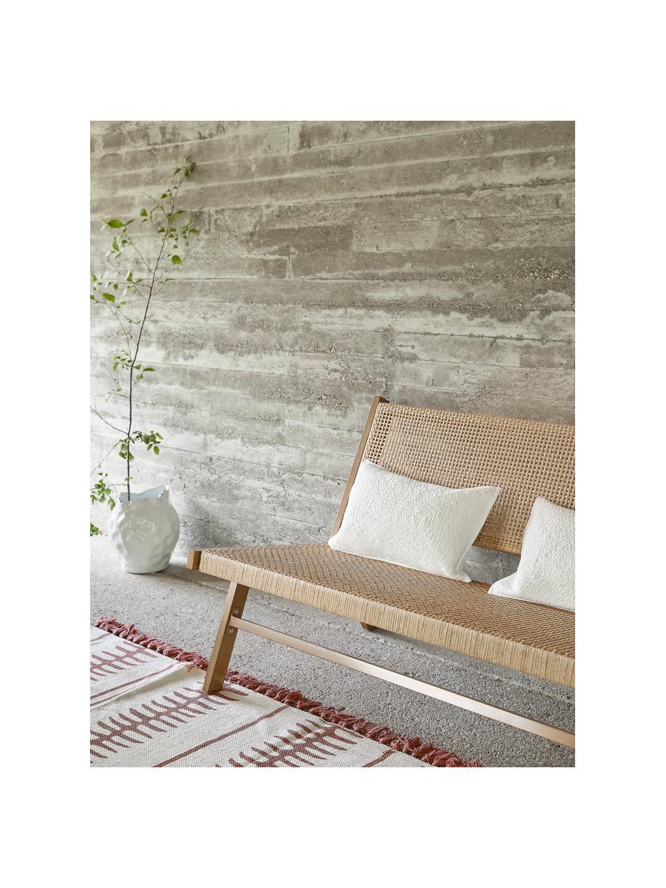 Handgewebter Baumwollteppich Rita in Beige/Terrakotta mit dekorativen Quasten, Beige, Terrakotta, B 50 x L 80 cm (Größe XXS)