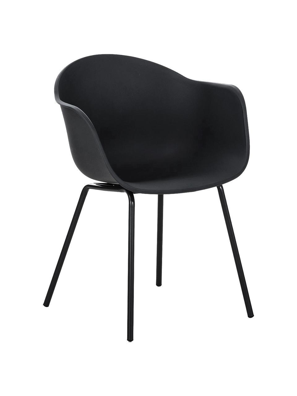 Krzesło z podłokietnikami z tworzywa sztucznego Claire, Nogi: metal malowany proszkowo, Czarny, S 60 x G 54 cm