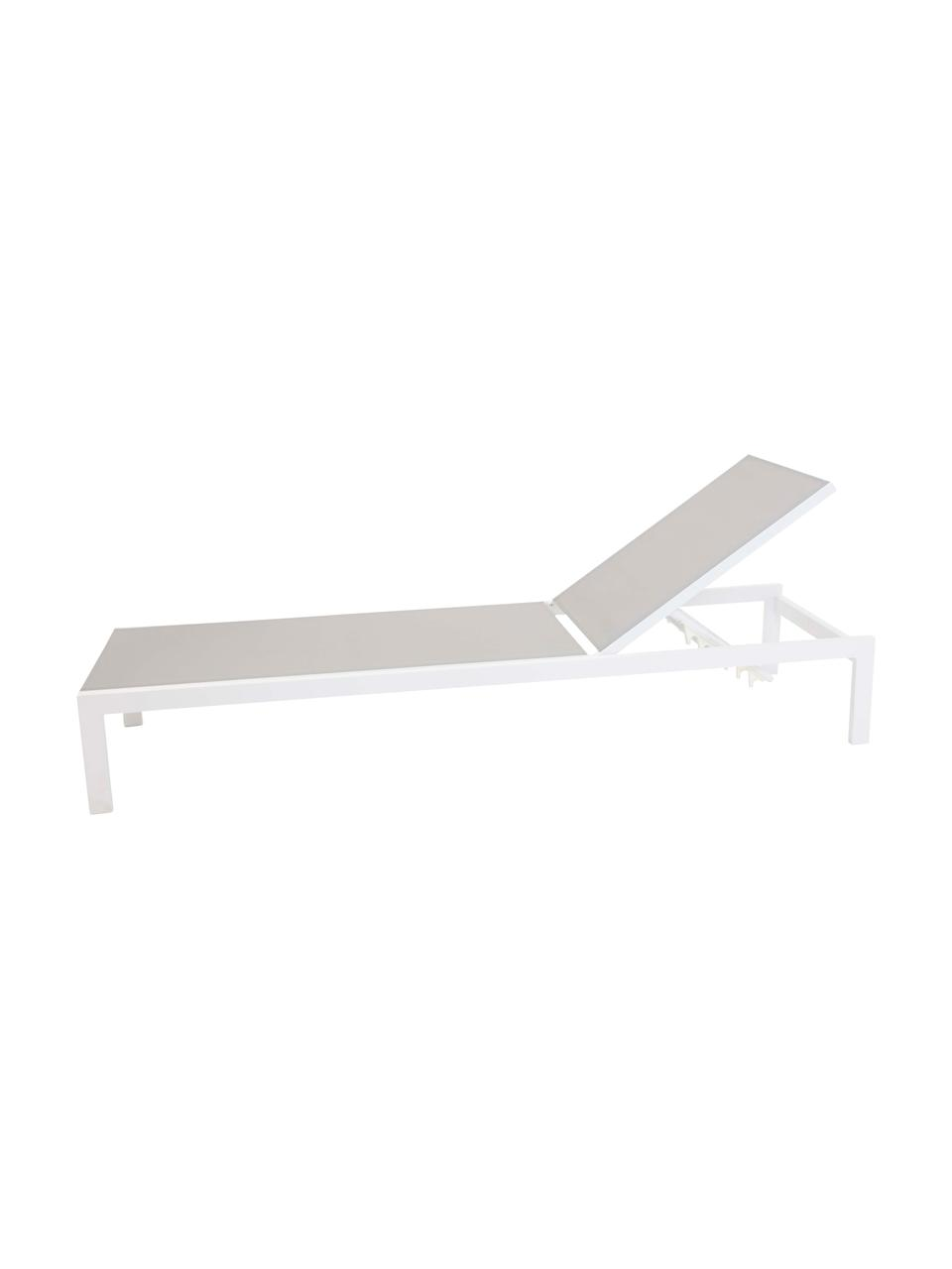 Lettino prendisole in alluminio bianco/grigio chiaro Copacabana, Struttura: alluminio laccato, Bianco, Lung. 195 x Larg. 60 cm