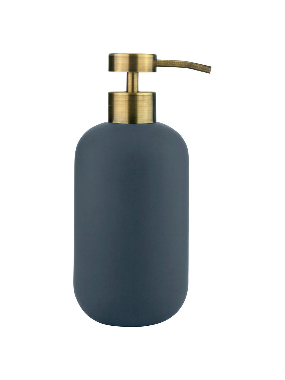 Keramik-Seifenspender Lotus, Behälter: Keramik, Pumpkopf: Metall, beschichtet, Blau, Messingfarben, Ø 8 x H 18 cm