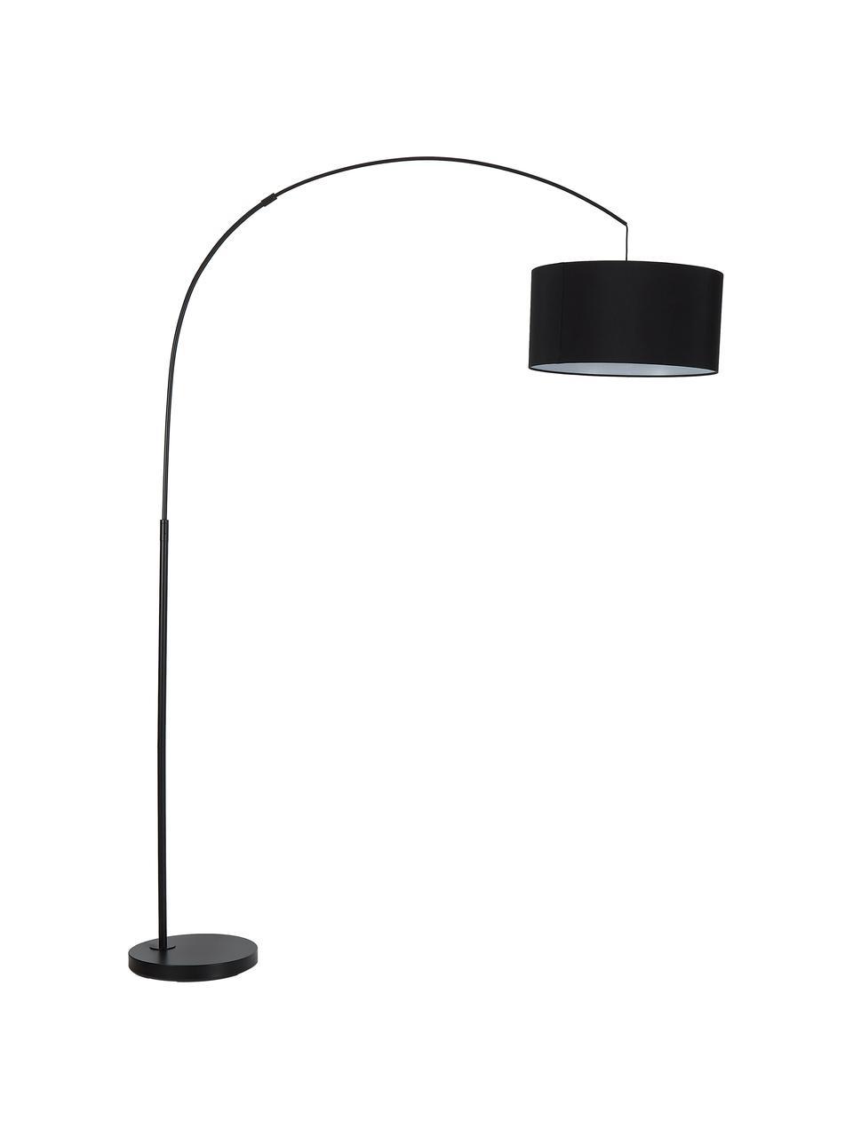 Moderne Bogenlampe Niels in Schwarz, Lampenschirm: Baumwollgemisch, Lampenfuß: Metall, pulverbeschichtet, Lampenschirm: Schwarz Lampenfuß: Schwarz, matt Kabel: Schwarz, 157 x 218 cm