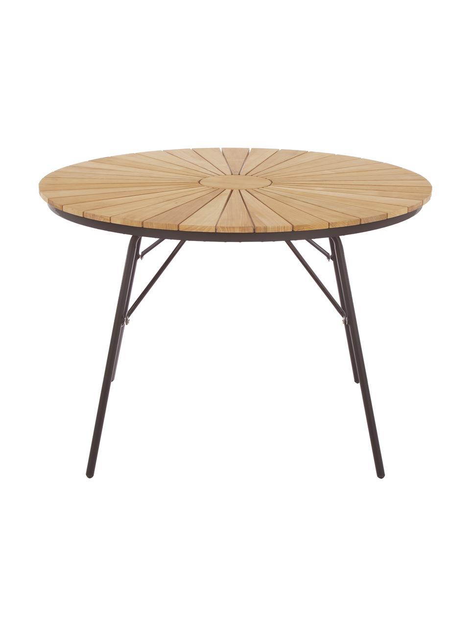 Tavolo da giardino in legno e metallo Hard & Ellen, Piano d'appoggio: legno di teak sabbiato Po, Antracite, teak, Ø 130 x Alt. 73 cm