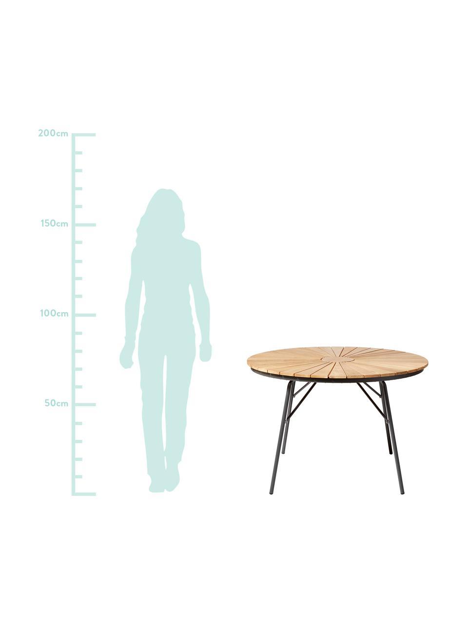 Tavolo rotondo da giardino con piano in legno di teak Hard & Ellen, Piano d'appoggio: legno di teak sabbiato Po, Antracite, legno di teak, Ø 110 x Alt. 73 cm