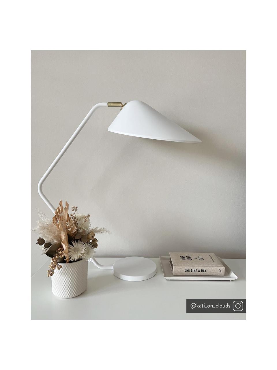Lampada bianca da scrivania con dettaglio dorato Neron, Baldacchino: metallo verniciato a polv, Base della lampada: metallo verniciato a polv, Bianco, Prof. 57 x Alt. 56 cm