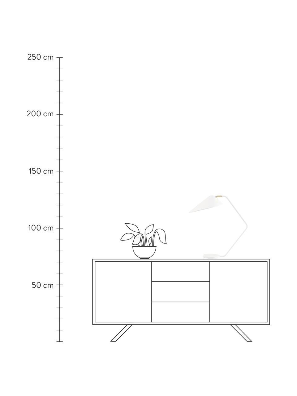 Große Schreibtischlampe Neron mit Gold-Dekor in Weiß, Lampenschirm: Metall, pulverbeschichtet, Lampenfuß: Metall, pulverbeschichtet, Dekor: Metall, vermessingt, Weiß, T 57 x H 56 cm