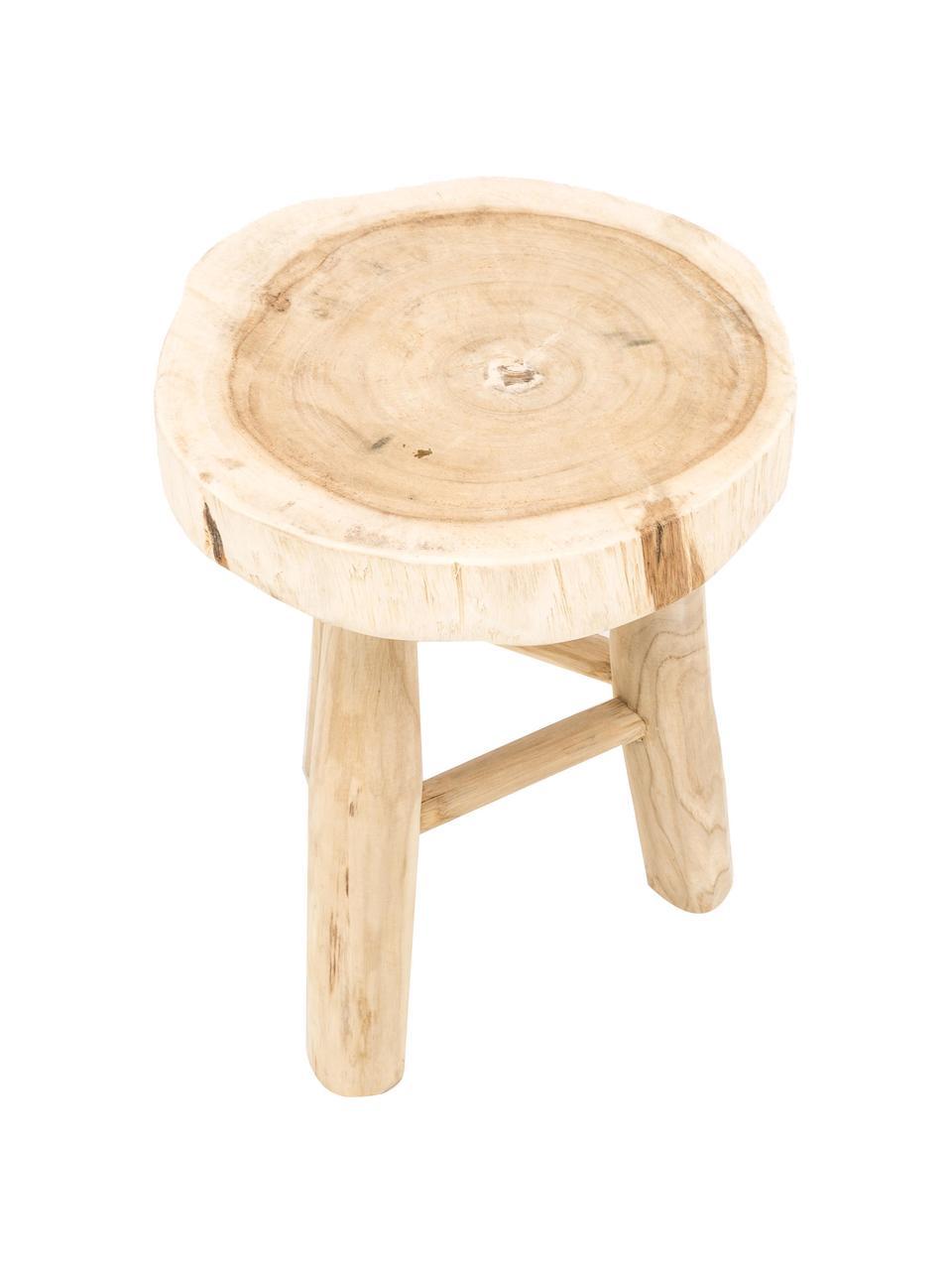Kulatá dřevěná stolička Beachside, Světle hnědá