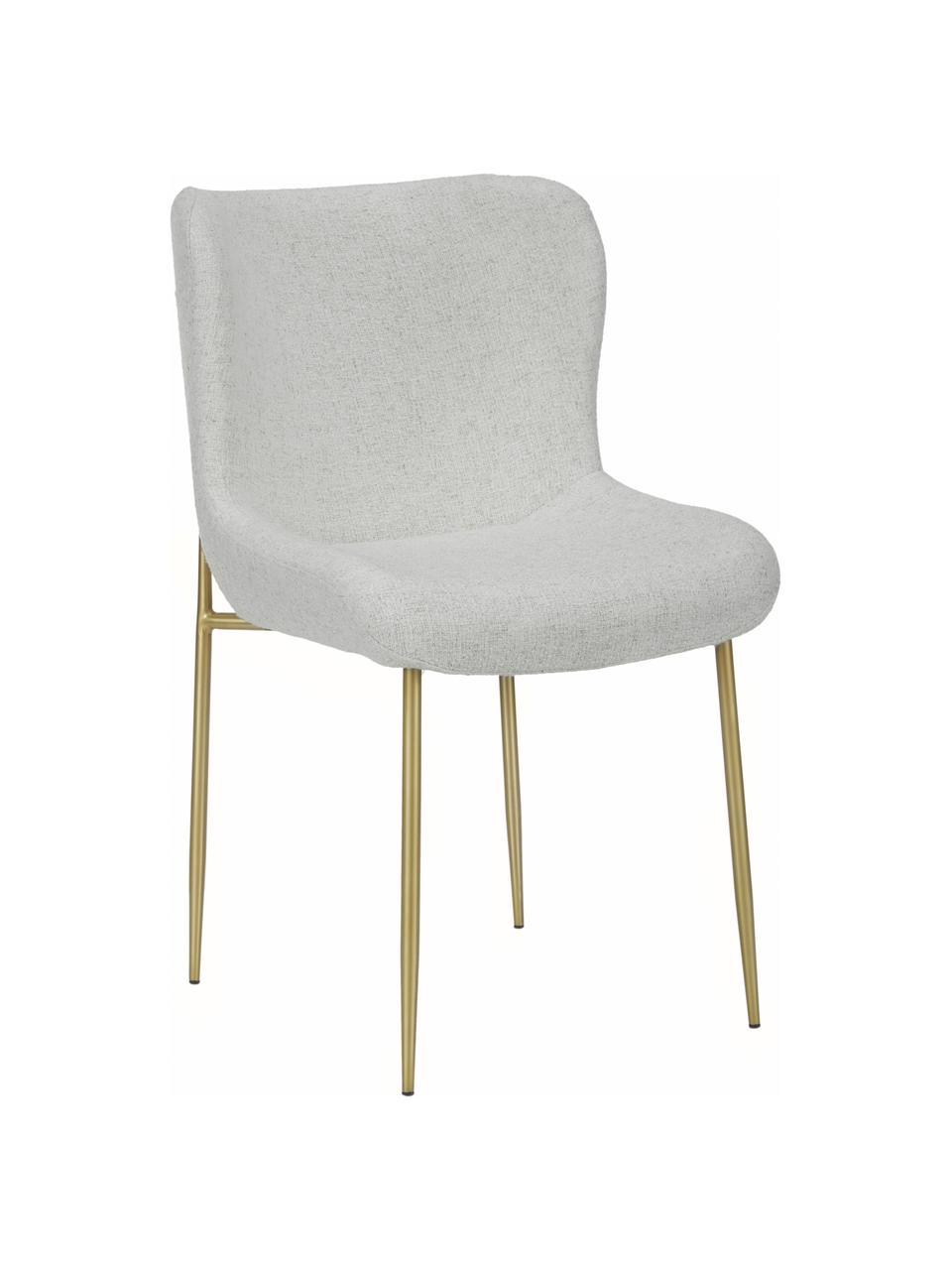 Chaise en tissu bouclé rembourrée Tess, Tissu bouclé gris clair, or
