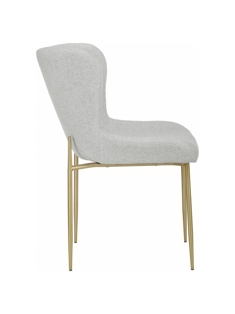 Krzesło tapicerowane bouclé Tess, Tapicerka: 70% poliester, 20% wiskoz, Nogi: metal malowany proszkowo, Jasny szary, złoty, S 49 x W 84 cm