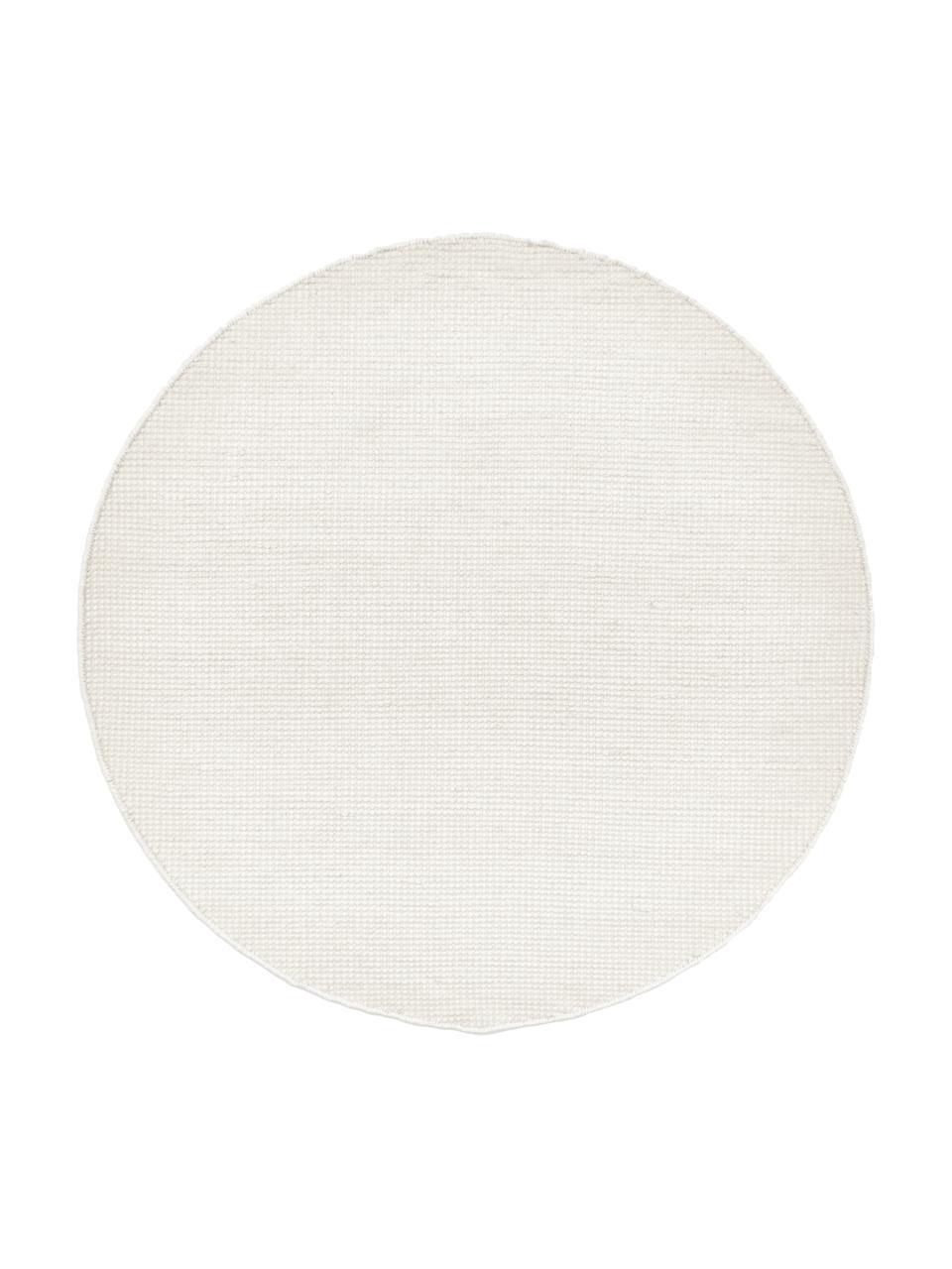 Runder Wollteppich Amaro in Creme, handgewebt, Flor: 100% Wolle, Cremeweiss, Ø 140 cm (Grösse M)