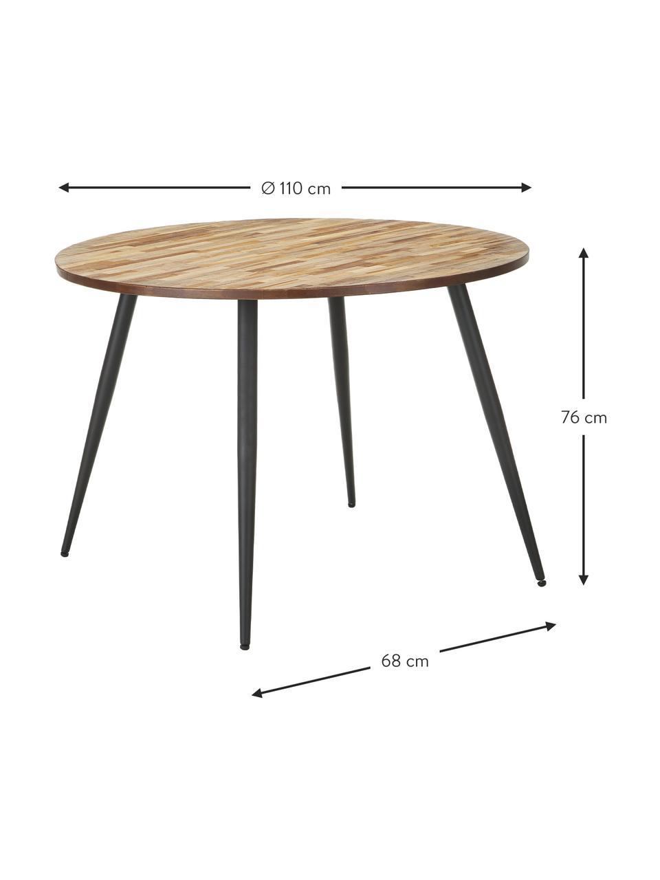 Ronde eettafel Mo met teakhouten tafelblad, Poten: gelakt en gecoat staal, Tafelblad: teakhoutkleurig. Poten: zwart, Ø 110 x H 76 cm