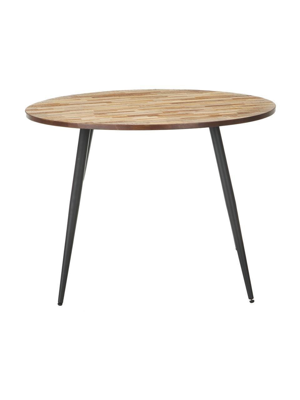 Runder Esstisch Mo mit Teakholzplatte, Beine: Metall, lackiert und besc, Tischplatte: TeakholzBeine: Schwarz, Ø 110 x H 76 cm