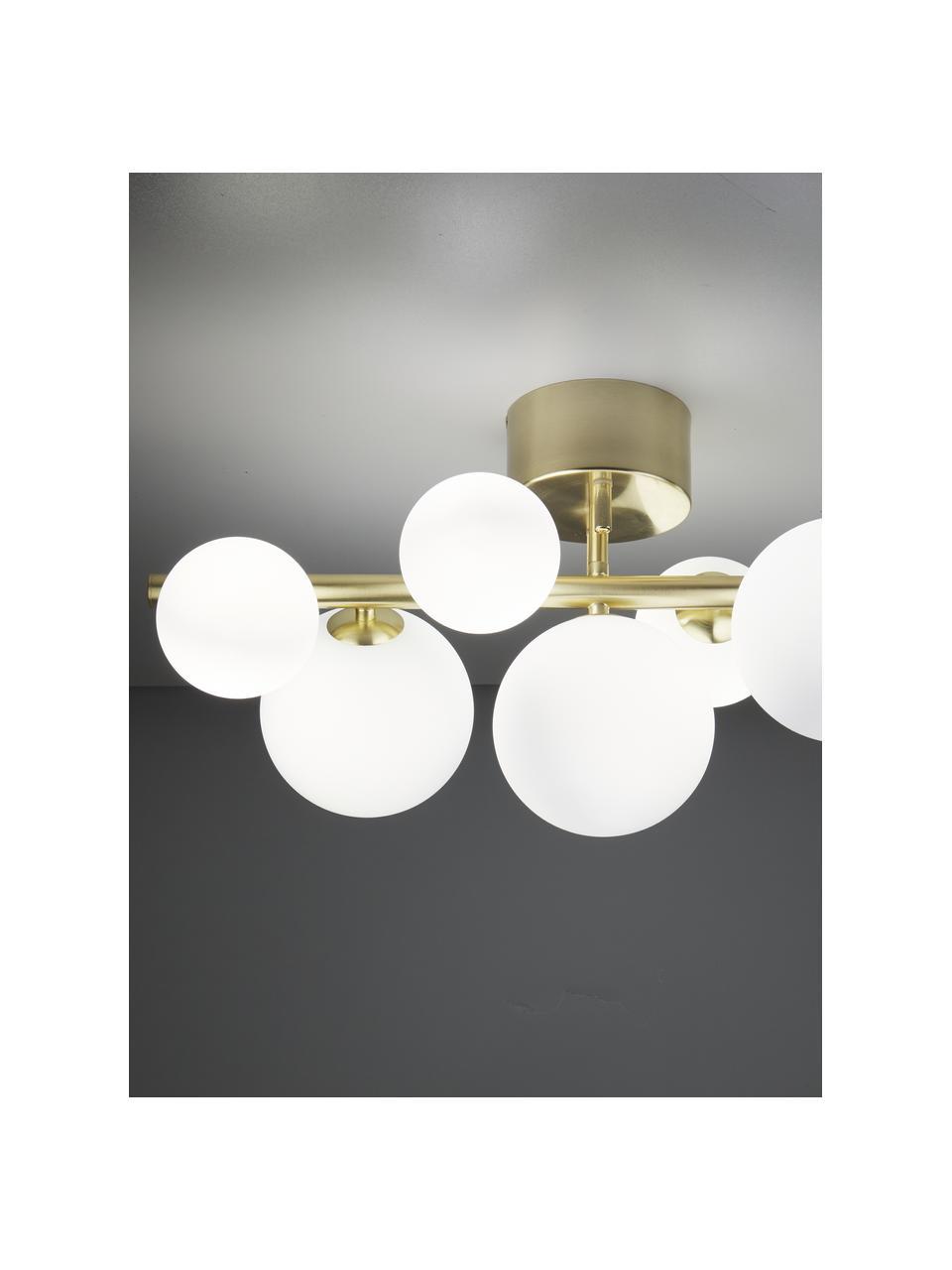 Lampa sufitowa ze szkła opalowego Molekyl, Mosiądz, biały opalowy, S 58 x W 30 cm