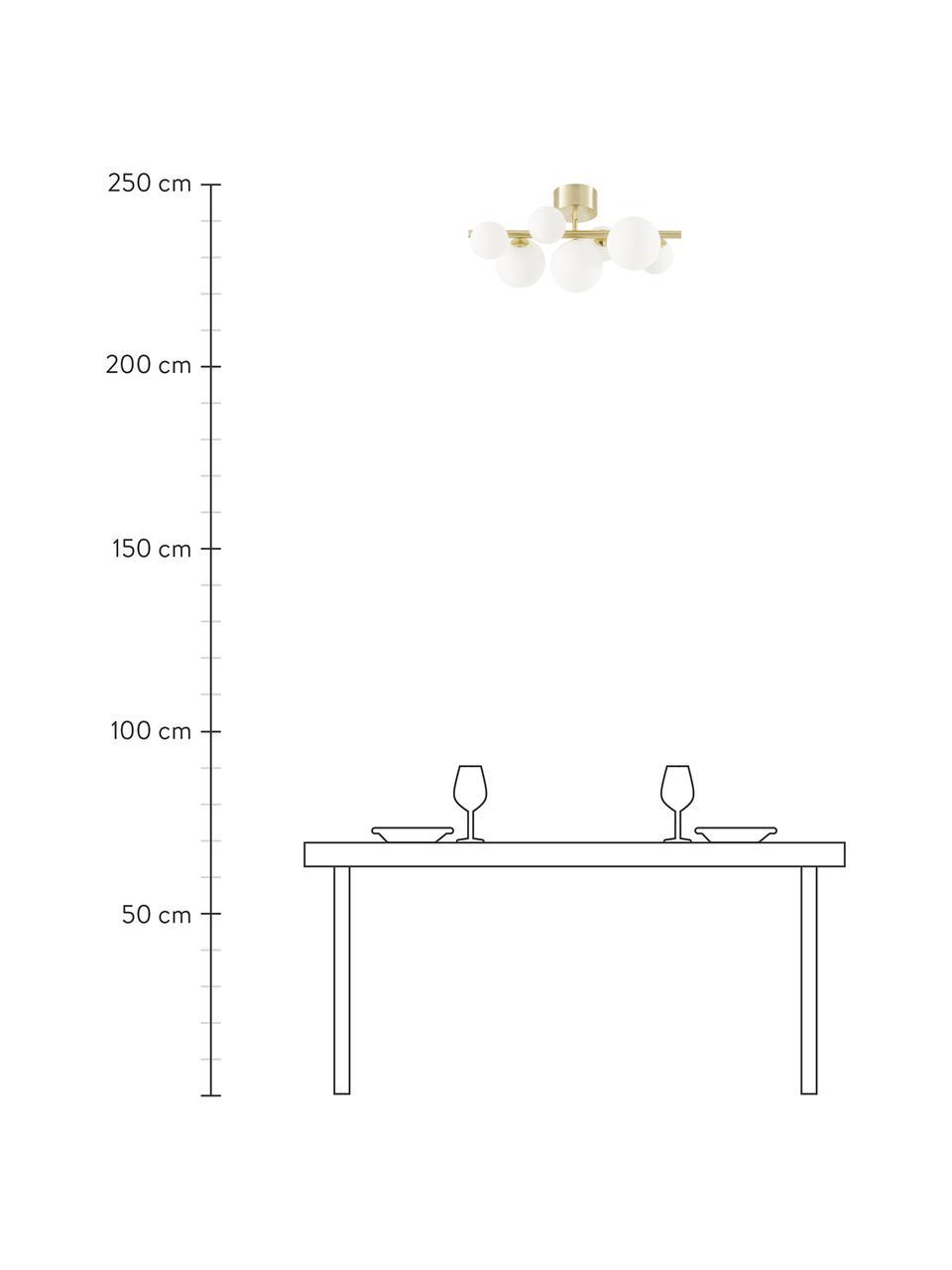Plafondlamp Molekyl van opaalglas, Baldakijn: messing, Messingkleurig, opaalwit, 58 x 30 cm