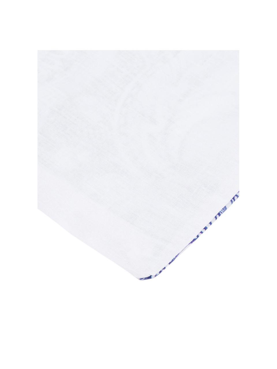 Parure copripiumino in cotone Lato, Cotone, Fronte: tonalità blu, bianco, retro: bianco, 200 x 200 cm + 2 federe 50 x 80 cm