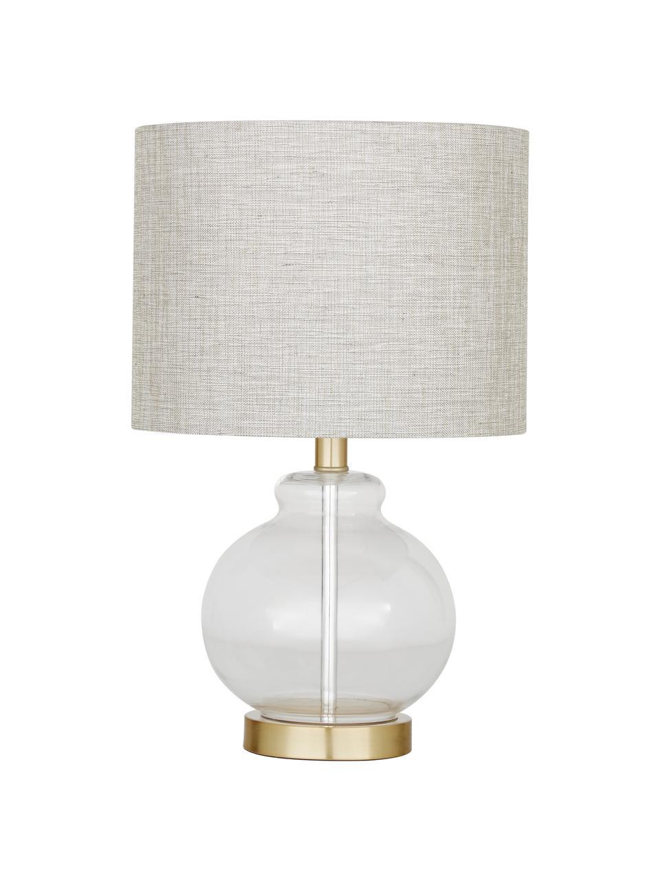 Lampa stołowa ze szklaną podstawą Natty, Taupe, transparentny, Ø 31 x W 48 cm