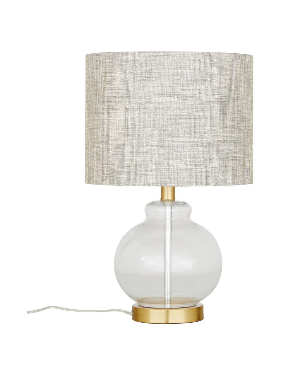 Lampada da tavolo con base in vetro Natty, Paralume: tessuto, Base della lampada: vetro, ottone spazzolato, Taupe, trasparente, Ø 31 x Alt. 48 cm