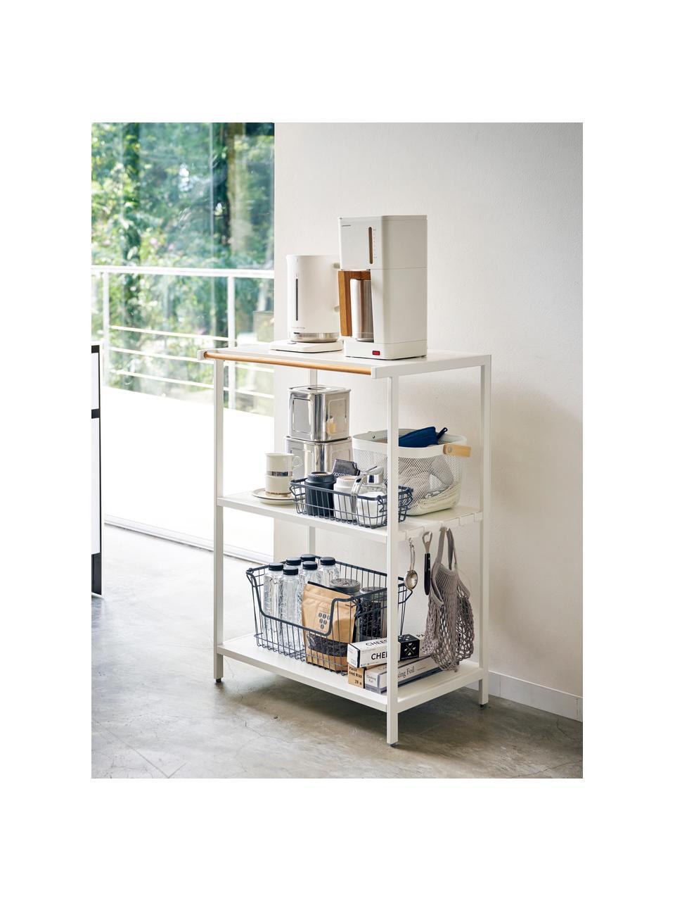 Scaffale in metallo bianco con porta asciugamani Killy, Scaffale: metallo verniciato a polv, Manico: legno, Bianco, Larg. 60 x Alt. 90 cm