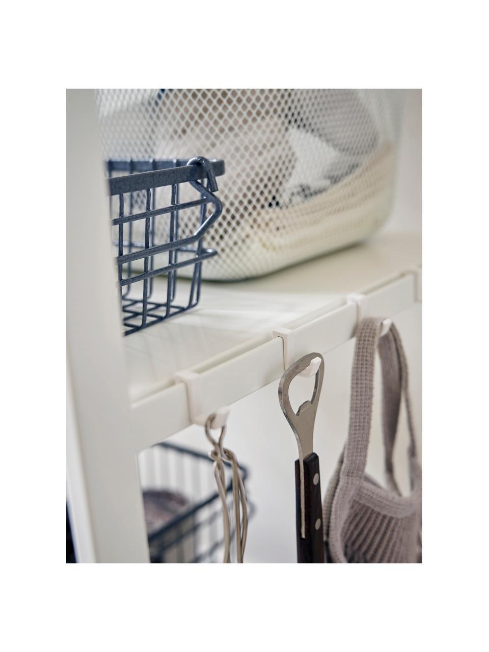 Metall-Standregal Killy in Weiß mit Handtuchhalterung, Griff: Holz, Weiß, 60 x 90 cm