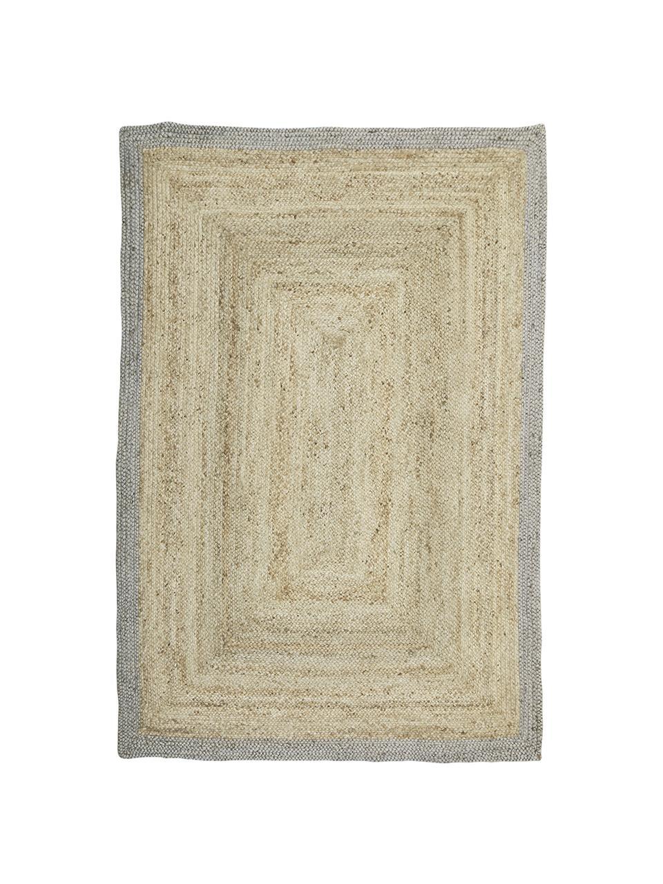 Handgefertigter Jute-Teppich Shanta mit grauem Rand, Beige, Grau, B 160 x L 230 cm (Größe M)