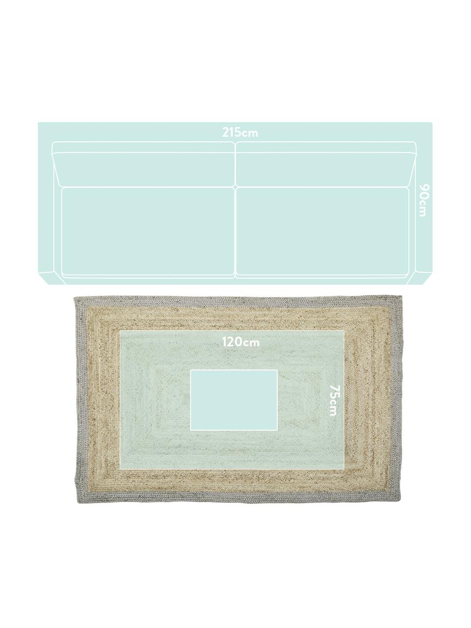 Handgemaakt juten vloerkleed Shanta met grijze rand, 100% jute, Beige, grijs, 160 x 230 cm