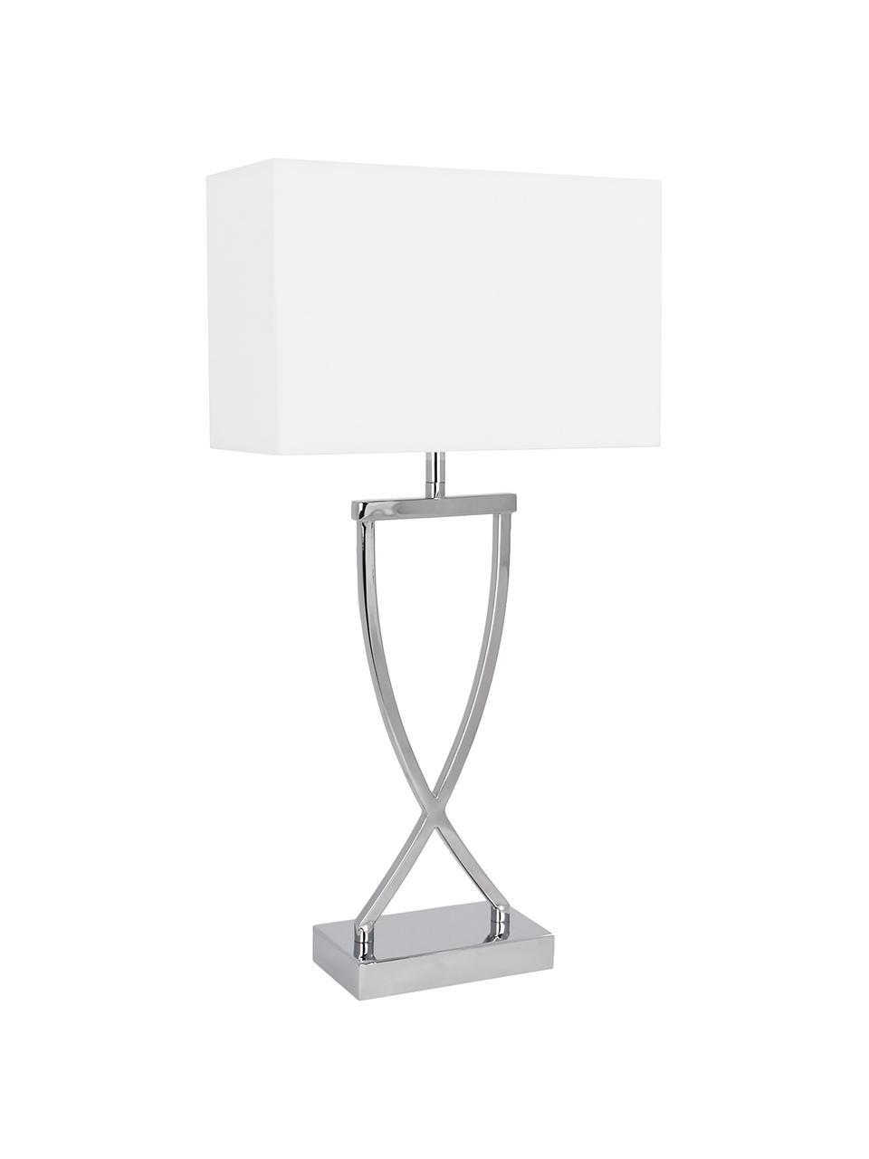Lampada da tavolo classica Vanessa, Base della lampada: Metallo, Paralume: Tessuto, Base della lampada: argento, paralume: bianco, cavo: bianco, Larg. 27 x Alt. 52 cm