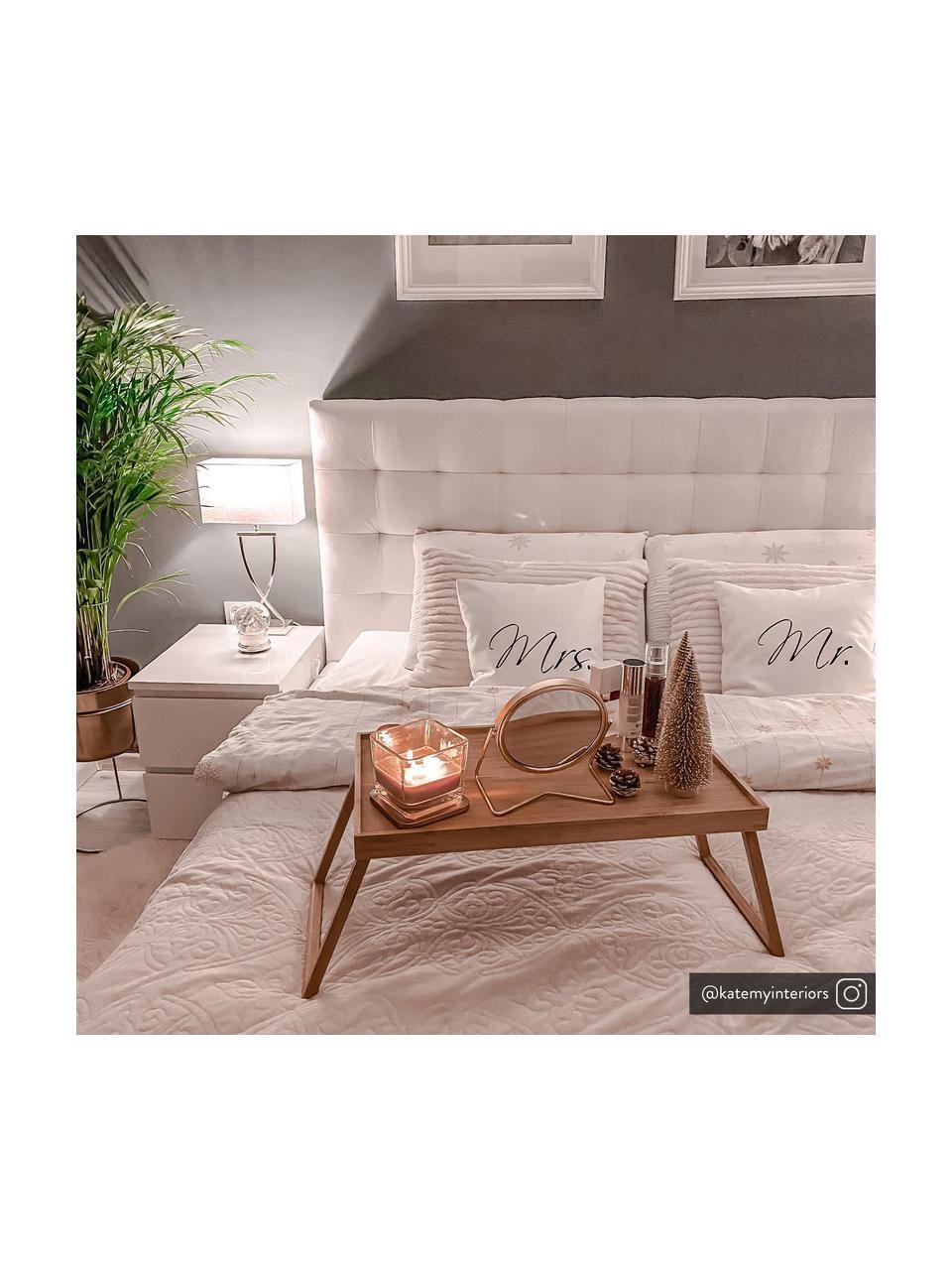 Grande lampe à poser classique argentée Vanessa, Pied de lampe: chrome, Abat-jour: blanc, Câble: blanc