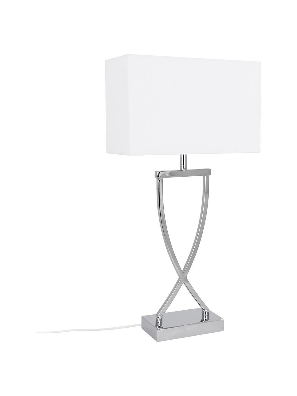 Lampa stołowa Vanessa, Podstawa lampy: srebrny Klosz: biały Kabel: biały, S 27 x W 52 cm