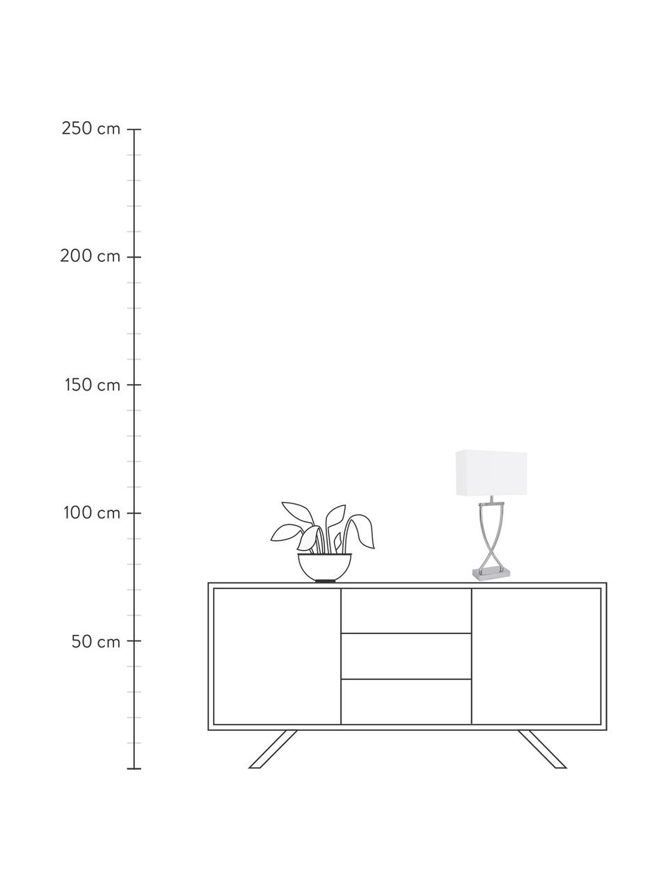 Große Klassische Tischlampe Vanessa in Silber, Lampenfuß: Metall, Lampenschirm: Textil, Lampenfuß: Chrom, Lampenschirm: Weiß, Kabel: Weiß, 27 x 52 cm