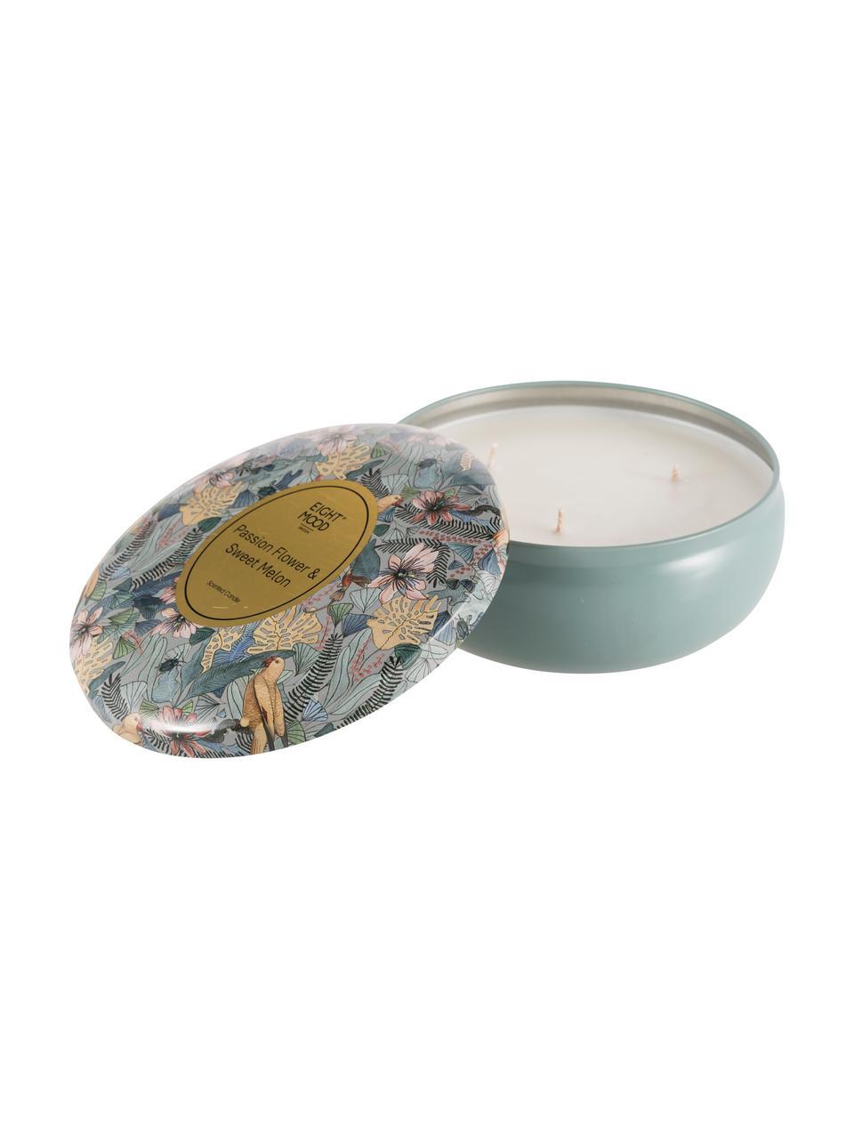Dreidochtduftkerze Luciana (Zitrone, Orange & Süße Melone), Behälter: Metall, Blau, Mehrfarbig, Ø 8 x H 5 cm